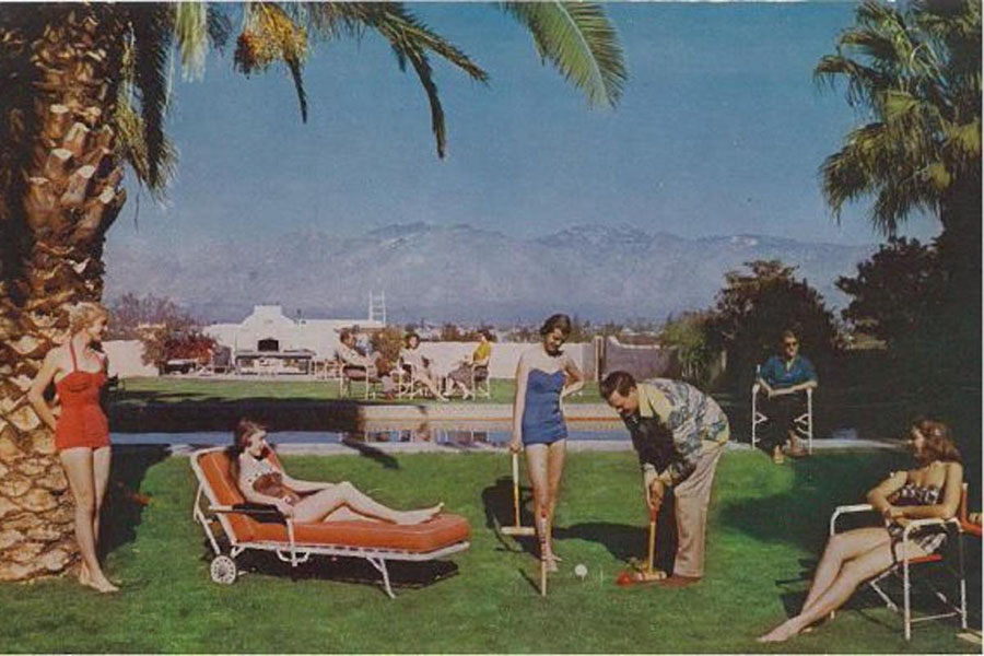Vintage postcard of pool