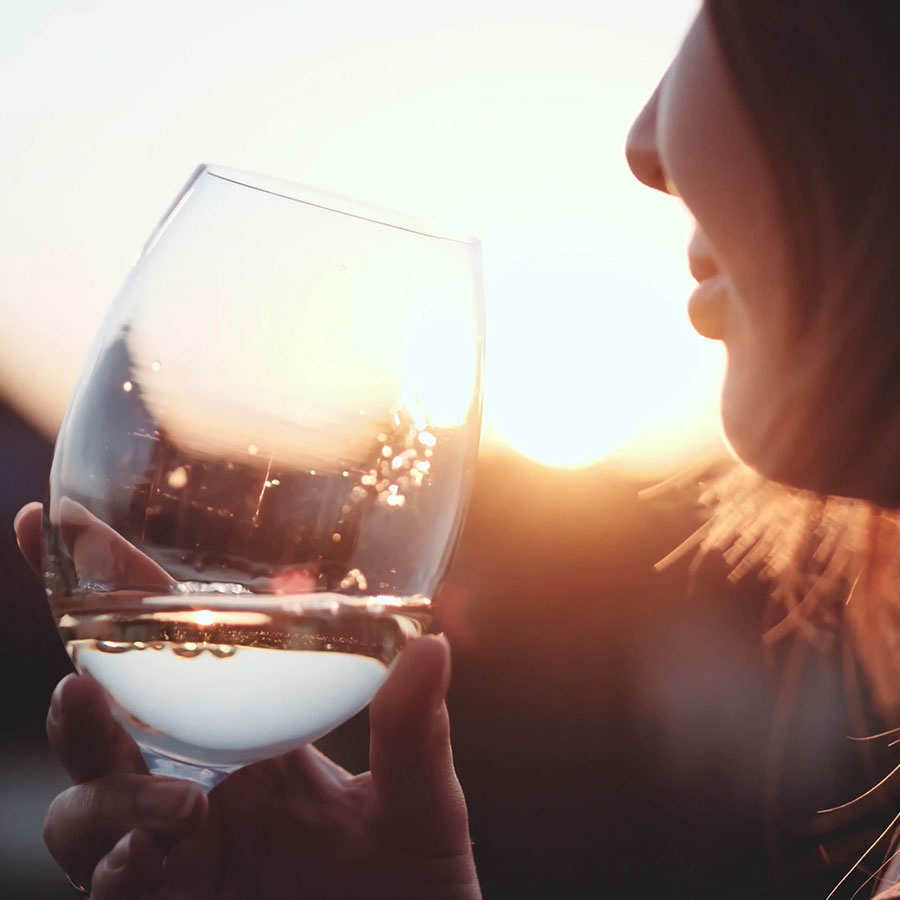 White Wine at Sunset